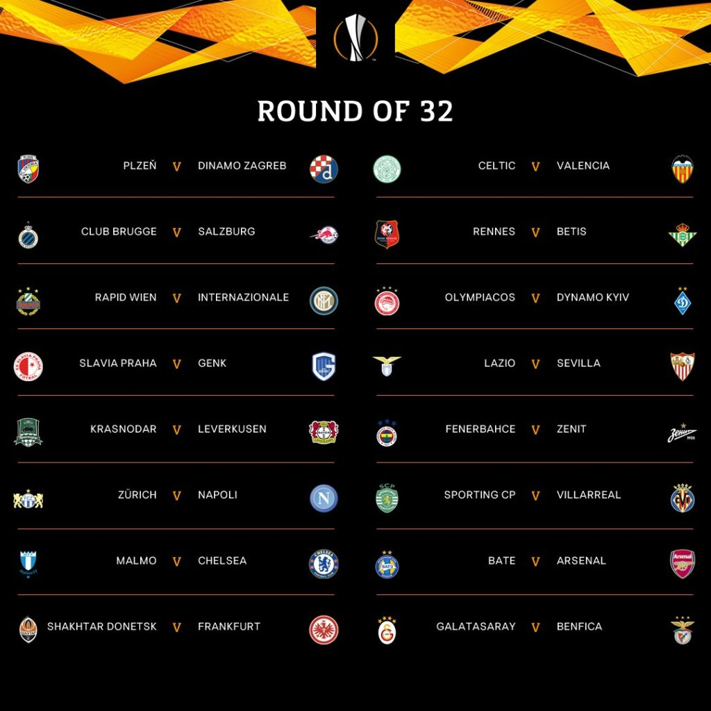 Europa League draw in full: Round of 32 fixtures for Arsenal, Chelsea and more