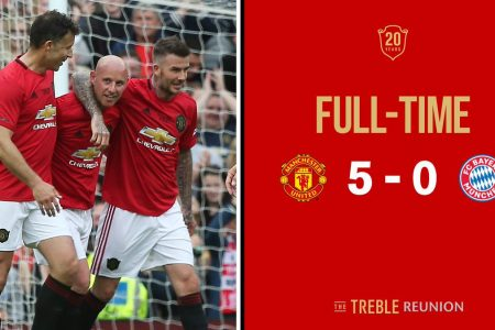 Man Utd 5 Bayern 0: Beckham and Solskjaer on target as United celebrate Treble anniversary at Old Trafford