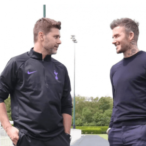 David Beckham back at Tottenham! Legend pictured at Spurs training with Harry Kane and Mauricio Pochettino