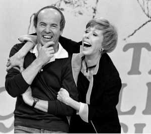 Carol Burnett shares a laugh with Tim Conway in 1978.