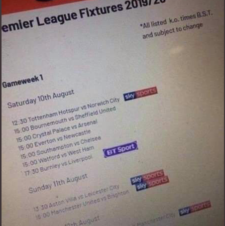 Premier League 2019/20 fixtures leaked before official release 'reveal' Liverpool, Arsenal, Manchester United, Tottenham and Chelsea's opening day opponents